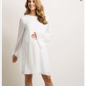 Ivory chiffon bell sleeve maternity dress